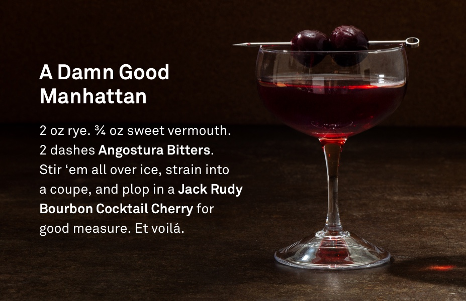 The Manhattan - Every refined artist has their drink of choice. For me, it's the Manhattan - the sweeter sibling of the Martini.Setting yourself up for the Disheveled Look™ starts the night before by drinking one-too-many Manhattans. For this, just drink as many as you deem appropriate, then have another, on me.