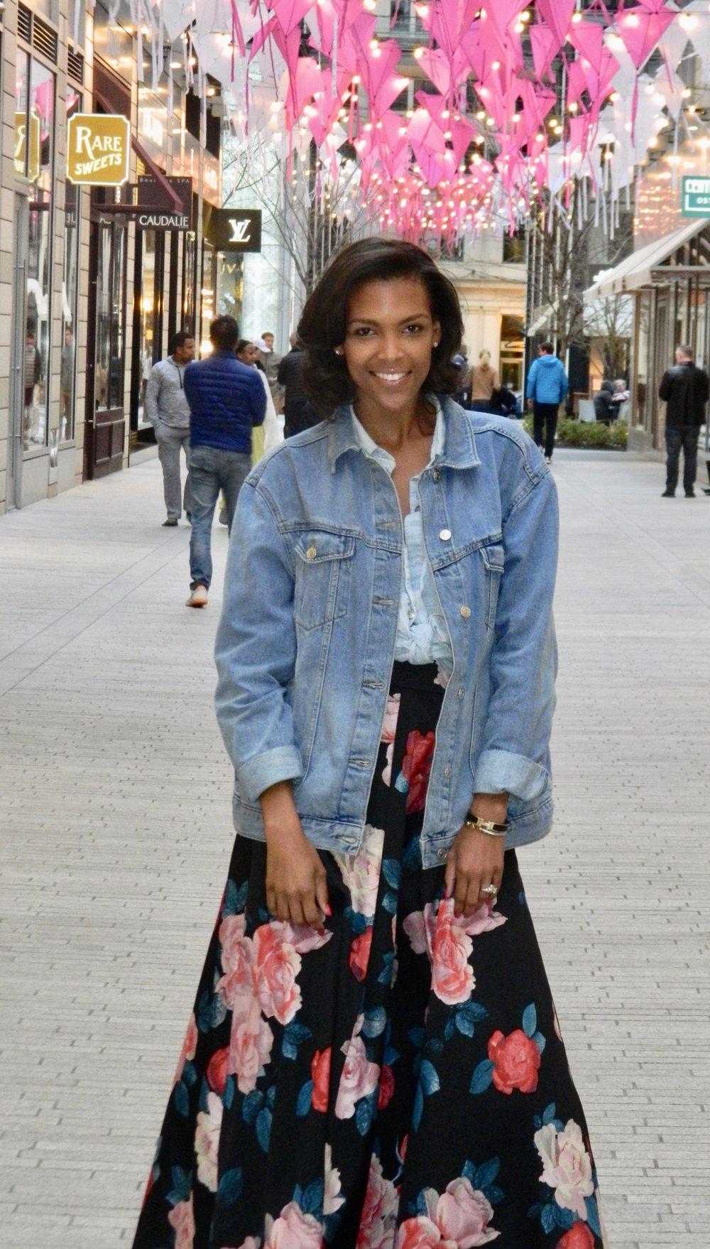 Taylor: Denim Shirt | Madewell Jacket | Top Shop Skirt | Nordstrom