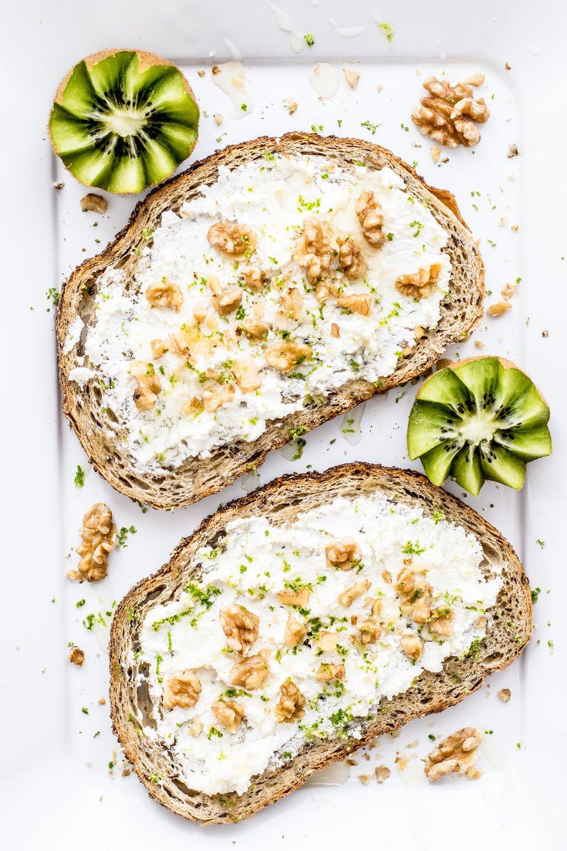 ricotta toast and kiwi with walnuts by Alavita Prenatal Nutrition.jpg