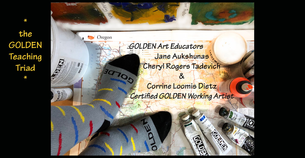 "Last year Cheryl Rogers- Tadevich and Jane Aukshunas and I formed the ""GOLDEN Teaching Triad. Each of us offer a unique perspective, skills in process and methods in making art. We drink wine, talk life and design workshops to share in our region."