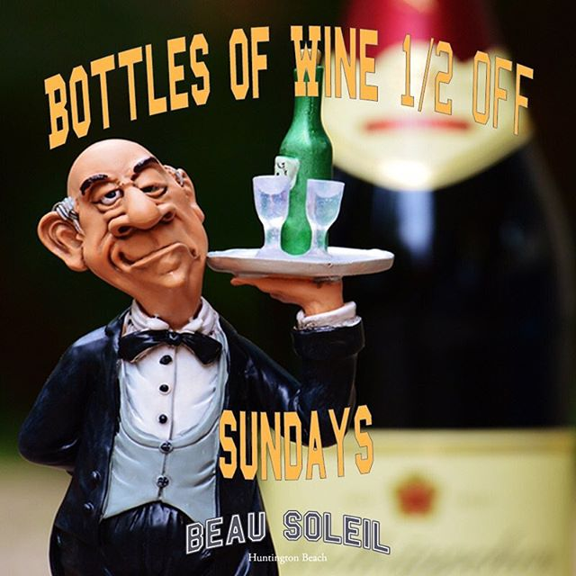 We aren't joshin' ya...it's for real. ALL BOTTLES OF WINE are 1/2 off on Sundays! Do not miss this...every Sunday this is your FUNday! #wine #vino #sundayfunday #pacificcity