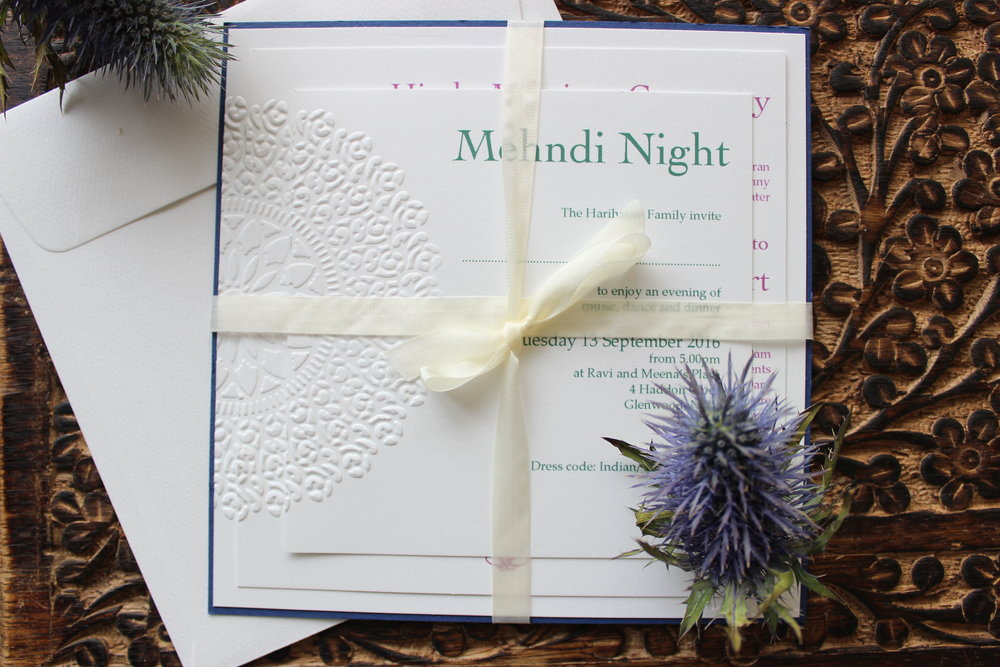 - This simple yet eclectic collection is perfect for any event. Featuring a beautifully embossed mandala;representing a full circle, or 'wholeness', of loved ones coming together to share a special moment.There isn't a more meaningful way to invite friends, family and communities together for your special event.