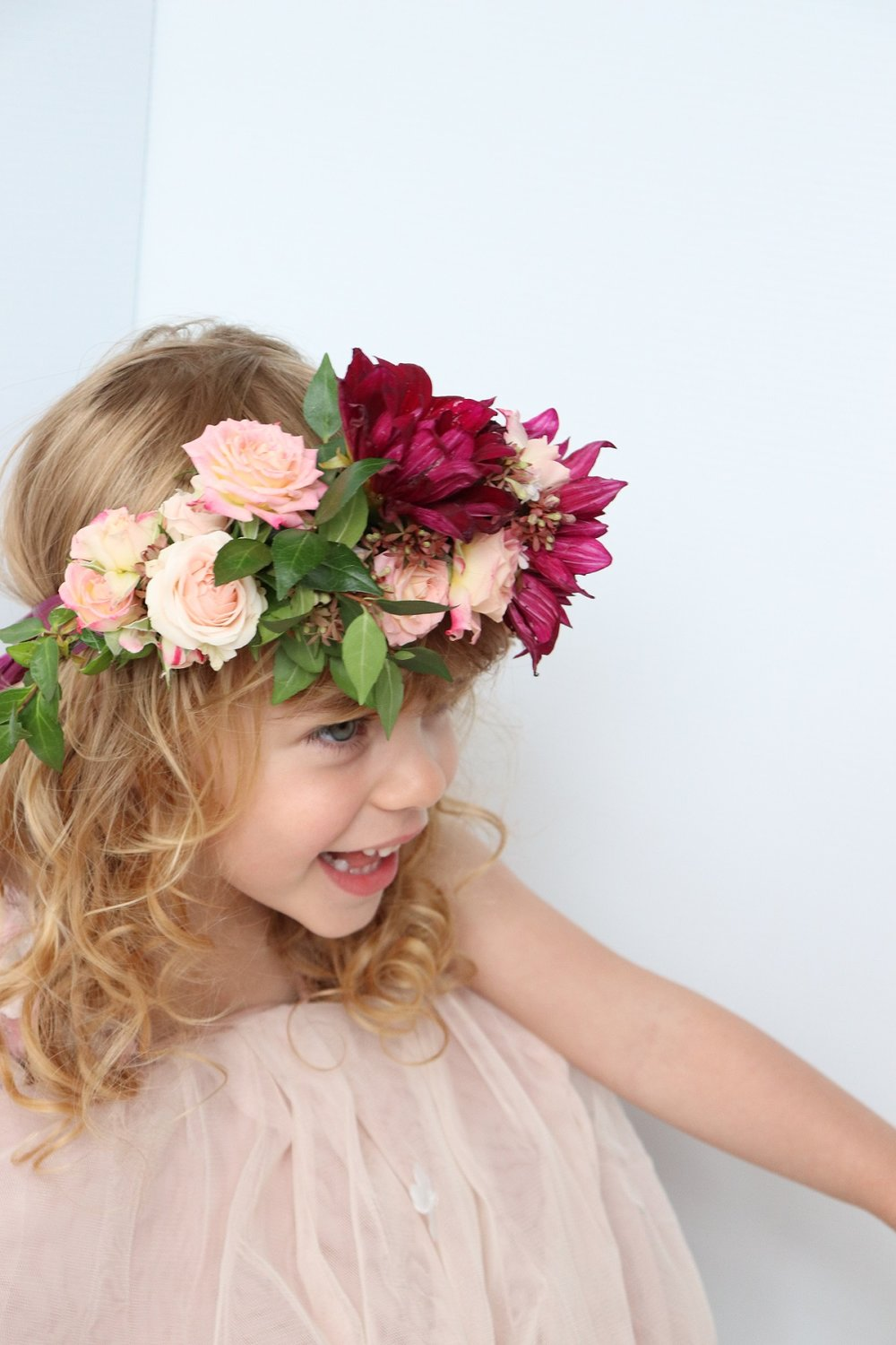 Pretty flower girl flower crown