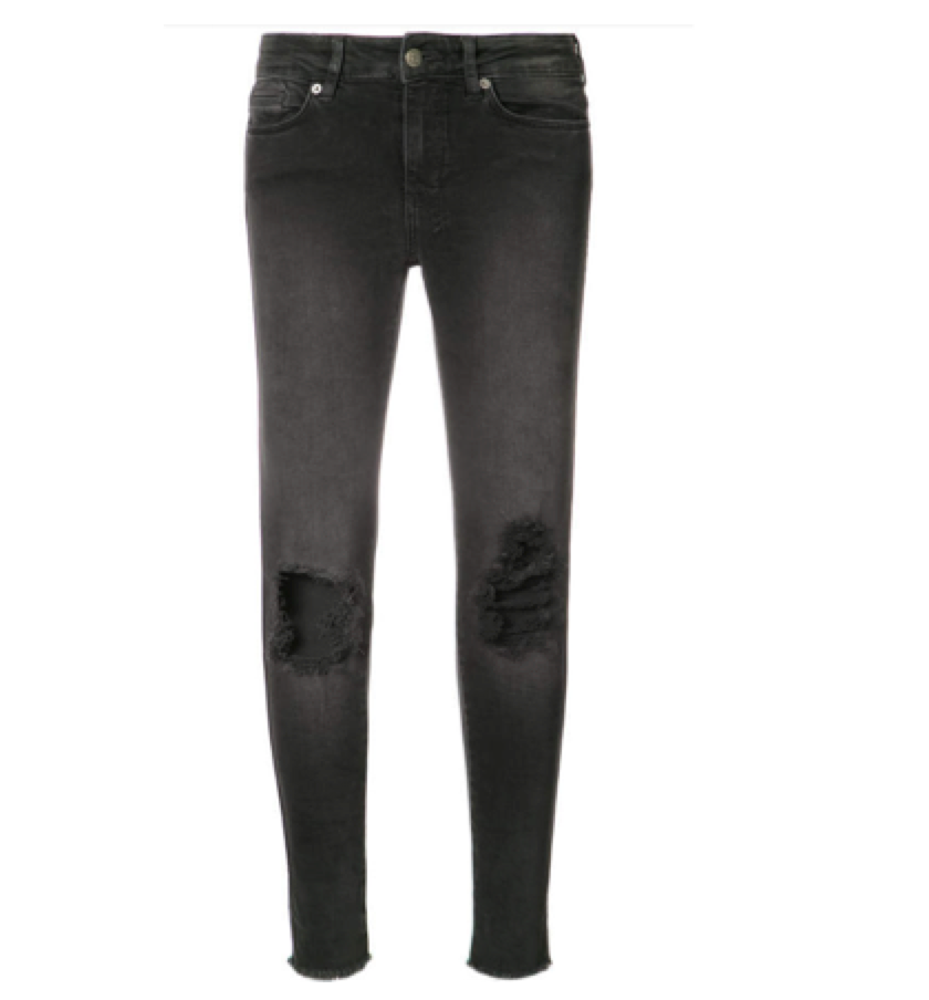 KSUBI -  Black skinny with distressing    A really cool black jean, and love this fit.