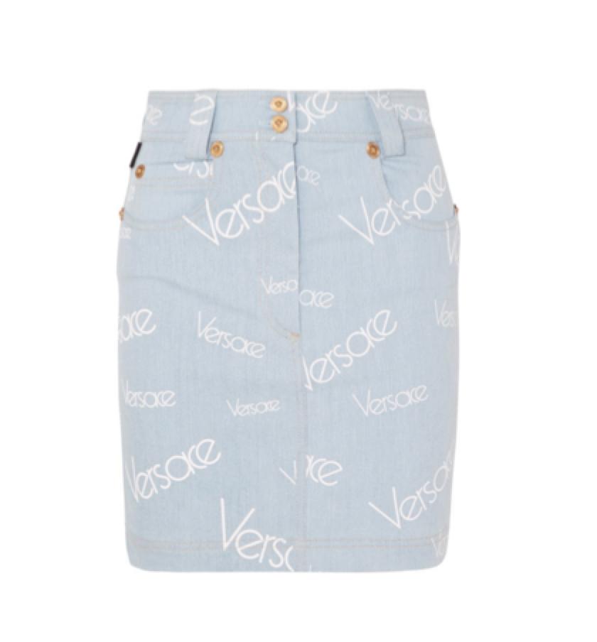 VERSACE -  logo print denim skirt