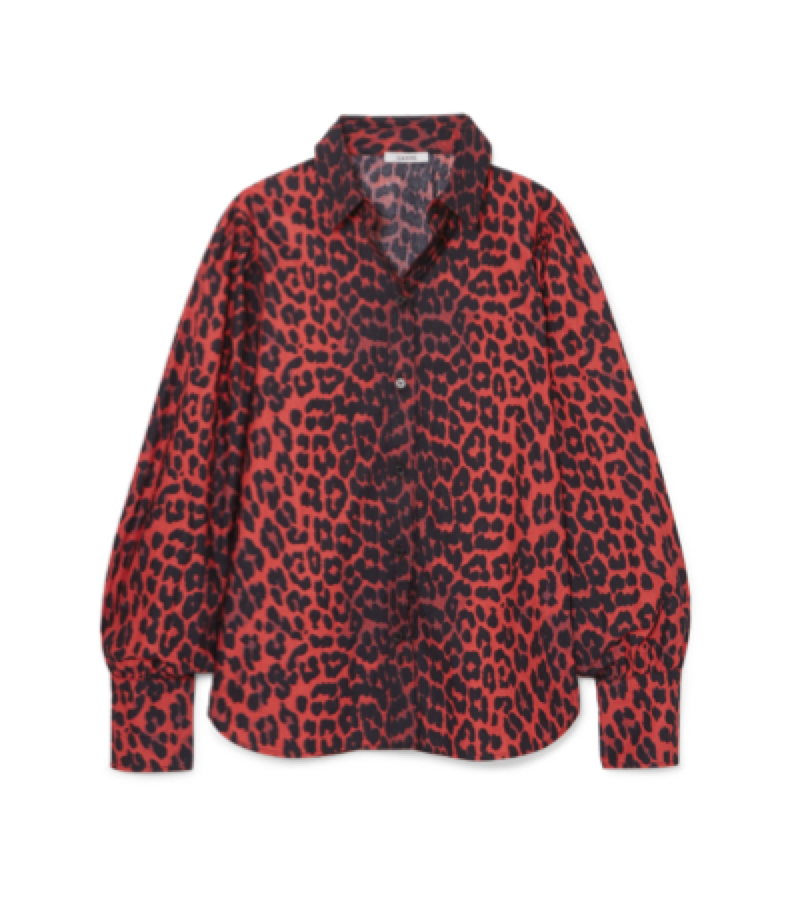 GANNI -  red animal print shirt