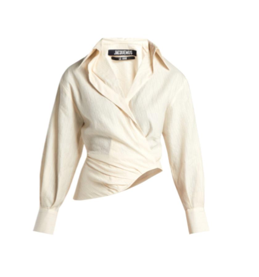 Jacquemus -  wrap cream shirt