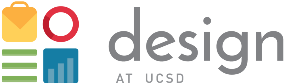 The logo - While iconic, the original visual identity (logo shown below) for Design at UCSD wasn't created after a complete design process. As a design organization, we have always felt uneasy that decisions behind our branding couldn't be justified. In 2017, we completed a complete rebranding of the organization after a quarter-long process of talking to different people.
