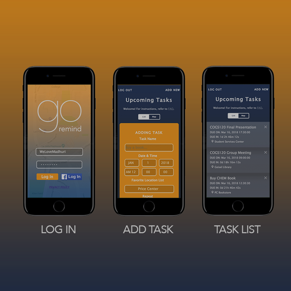 GoRemind Web App Design -