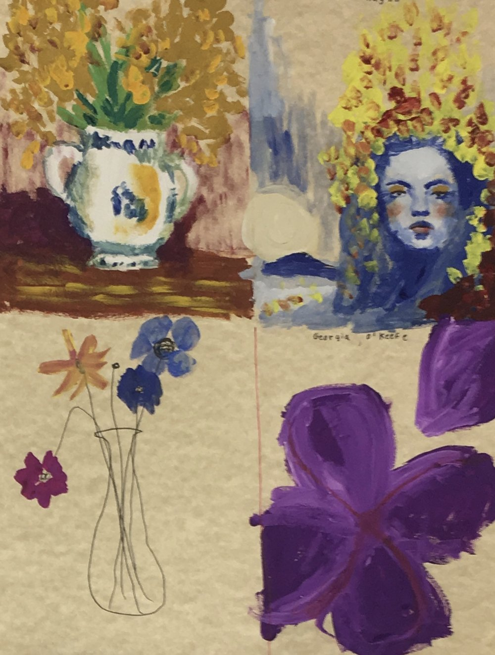 Student sketches - This student's sketches are not quite complete, but demonstrate the general ideas being considered for her final artwork.