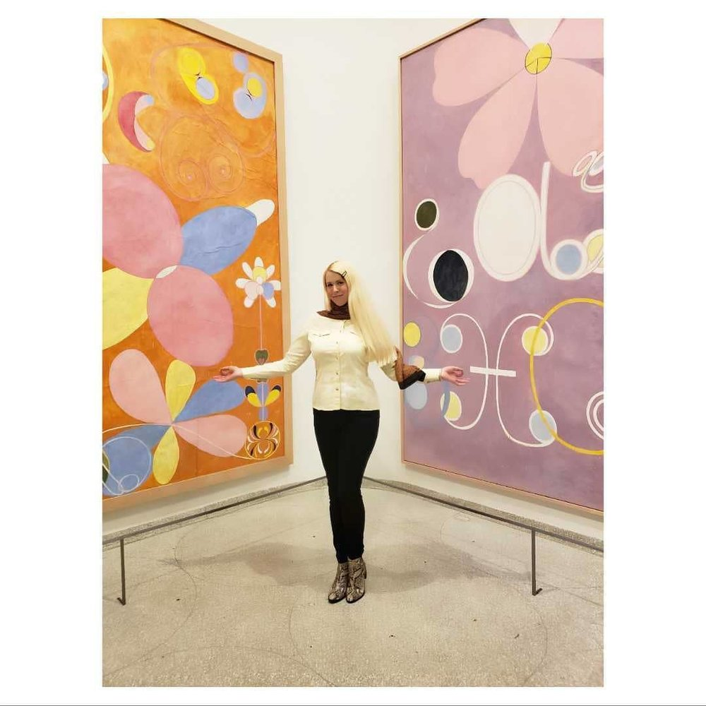 "Hilma af Klint ""Paintings For The Future"" at the Guggenheim in NYC. Photo of Katie Pilgrim by Bailey Carr."