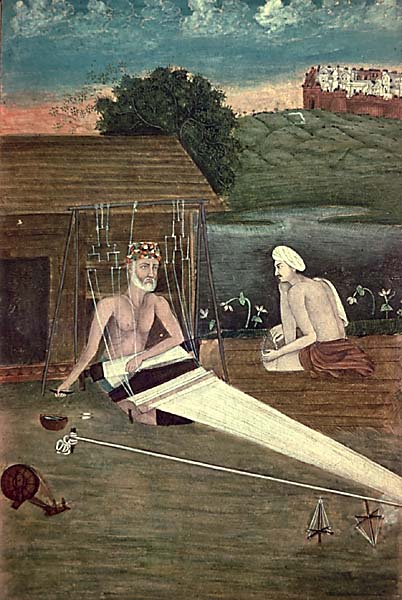 An 1825 CE painting depicts Kabir weaving.
