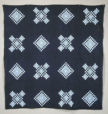 Japanese indigo-dyed double ikat, early 20th century
