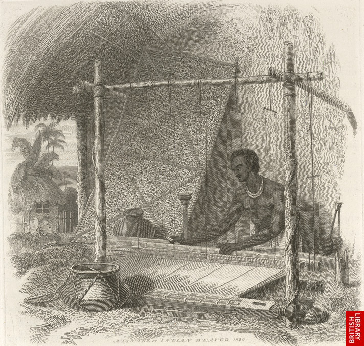 A Tantee or Indian weaver; an etching by Sir Charles D'Oyly, 1827
