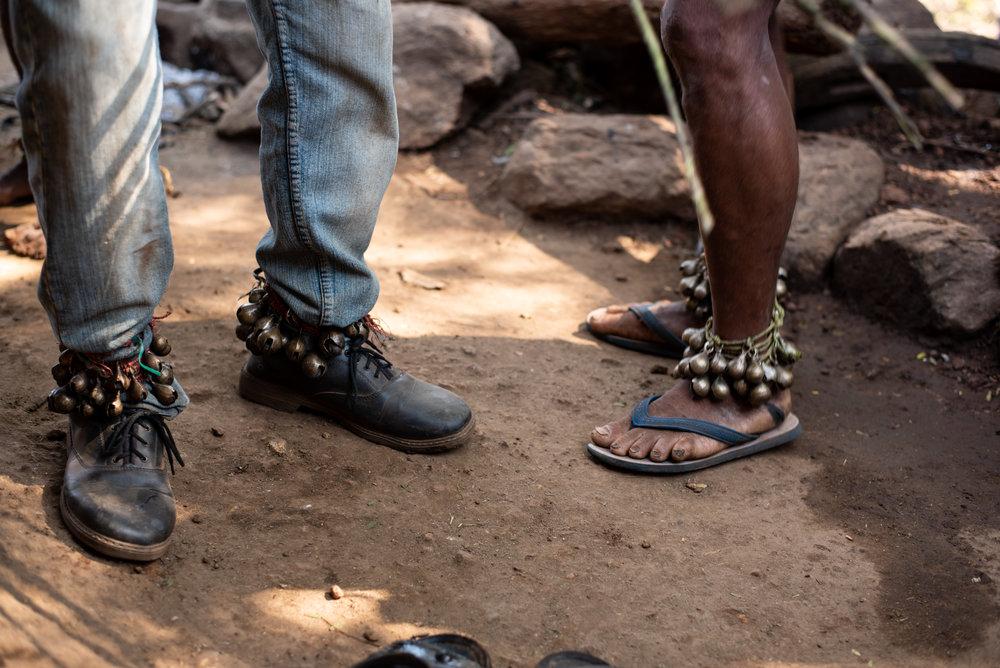 Bells are worn around ankles