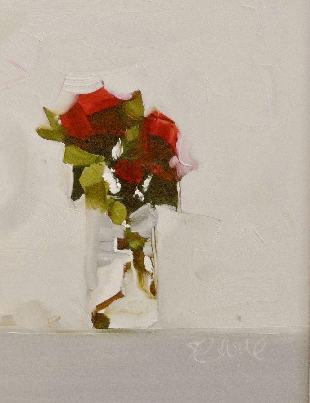 roses in jam jar