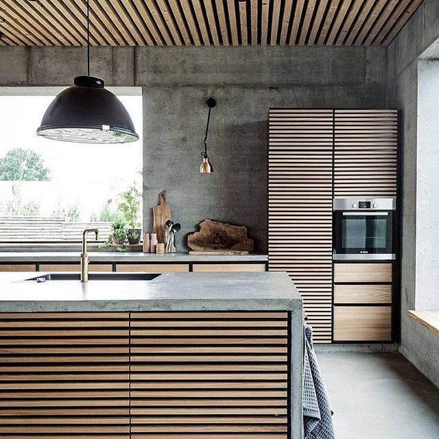 Love this kitchen from @neilarchitecture concrete and ply is a winner! 🏆 • Follow 👉 @kendlcollection for daily kitchen content, beautiful products and inspiration