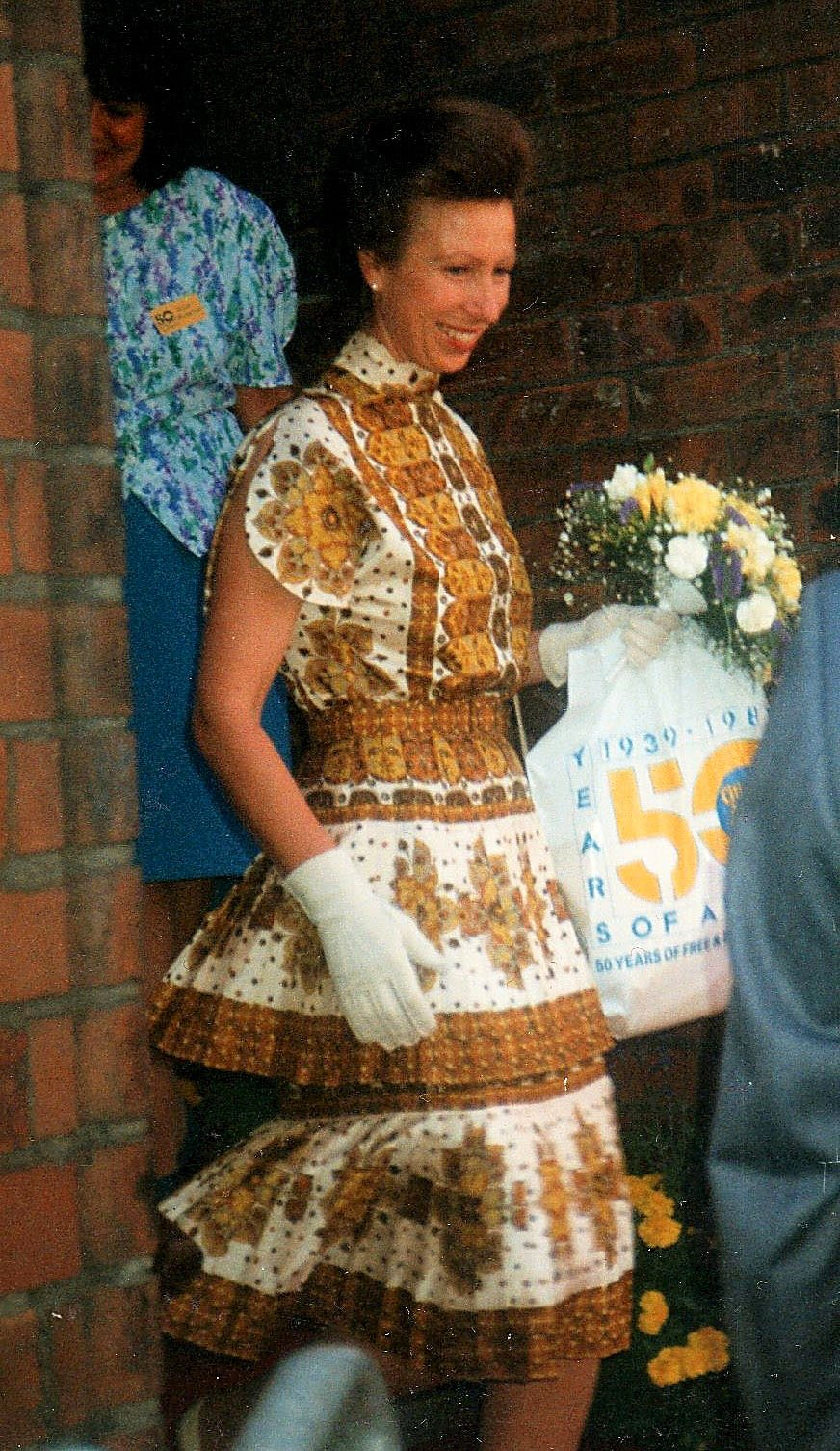 Anne, Princess Royal, visits Wakefield's Citizens Advice Bureau in 1989. She left holding a plastic bag commemorating 50 years of free and impartial advice by the organisation. Photographer: Paul Ratcliffe
