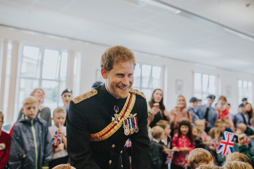 The photo was taken in July 2017 at the presentation of the new Queen's colour for the RAF Regiment, presented by HRH Prince Harry at RAF Honington. Prince Harry was greeting everyone so I managed to get this lovely picture as he was talking to us. It was such a great and exciting day. Photographer: Brook Rose O'Brien
