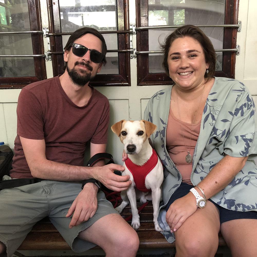 Con Aaron y Carolina en el Funicular del Monte Igeldo.