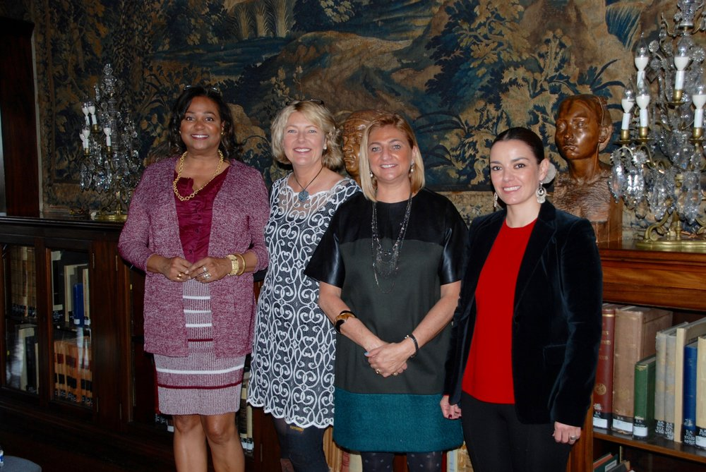 (L-R), WDS Previous Past-VP, Caren Danies, WDS President, Laura Elsey, Minister Ana Luisa Fajer Flores (former Chief of Staff, Embassy of Mexico in the U.S., currently serving as Mexico's Ambassador to South Africa), Minister Jorgina Gaxiola.  Women in Diplomacy  joint program with the Embassy of Mexico, held at their beautiful Cultural Institute in DC.
