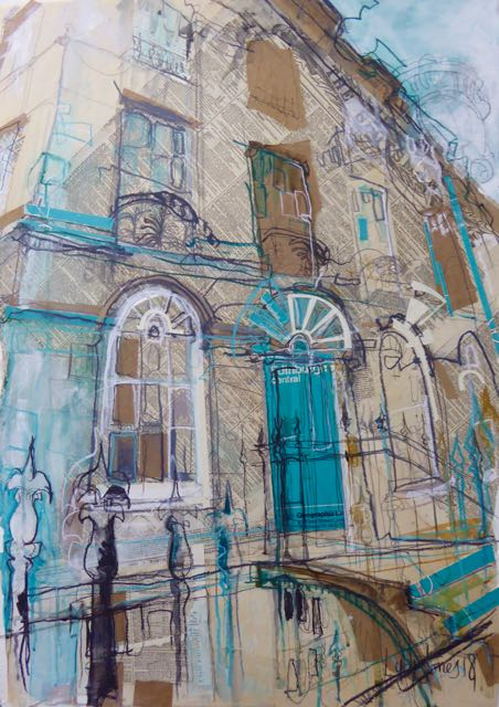 Turquoise Door, New Town      Mixed Media, 57 x 82cm     SOLD