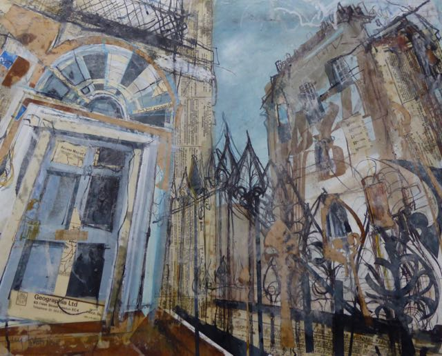 West End Railings      Mixed Media with Wax, 63 x 50cm