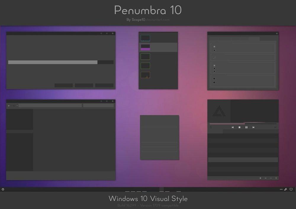 penumbra 10 windows 10 dark mode