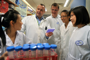 The team led by Assoc Prof MacAry (2nd from left) identified the antibody that acts against a subtype of the dengue virus responsible for half the dengue infections in Singapore    Photo: The Straits Times © Singapore Press Holdings Ltd