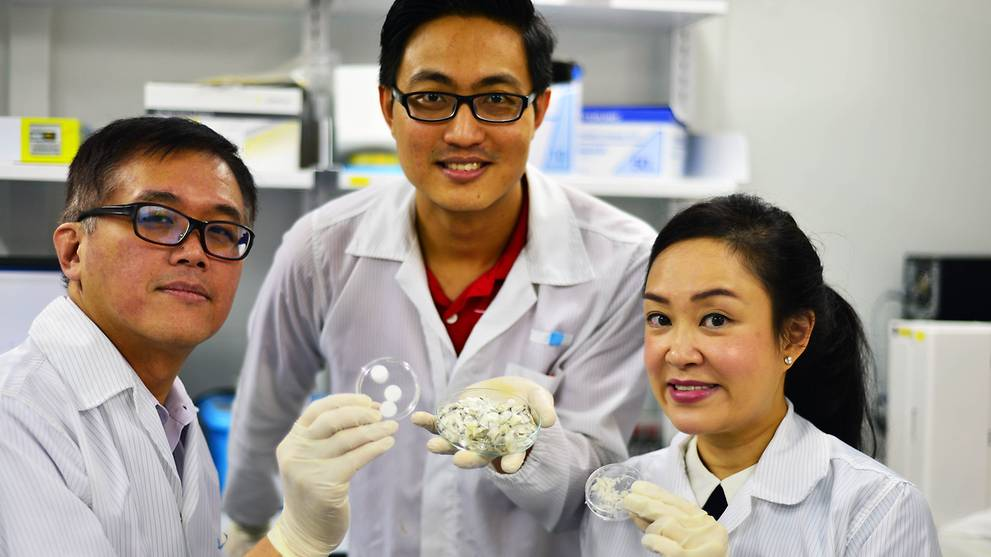 NTU Singapore scientists have found potential biomedical uses for collagen derived from fish scales which are usually discarded. From left: Associate professor Andrew Tan, research fellow Dr Wang Jun Kit and assistant professor Cleo Choong. (Photo: NTU)