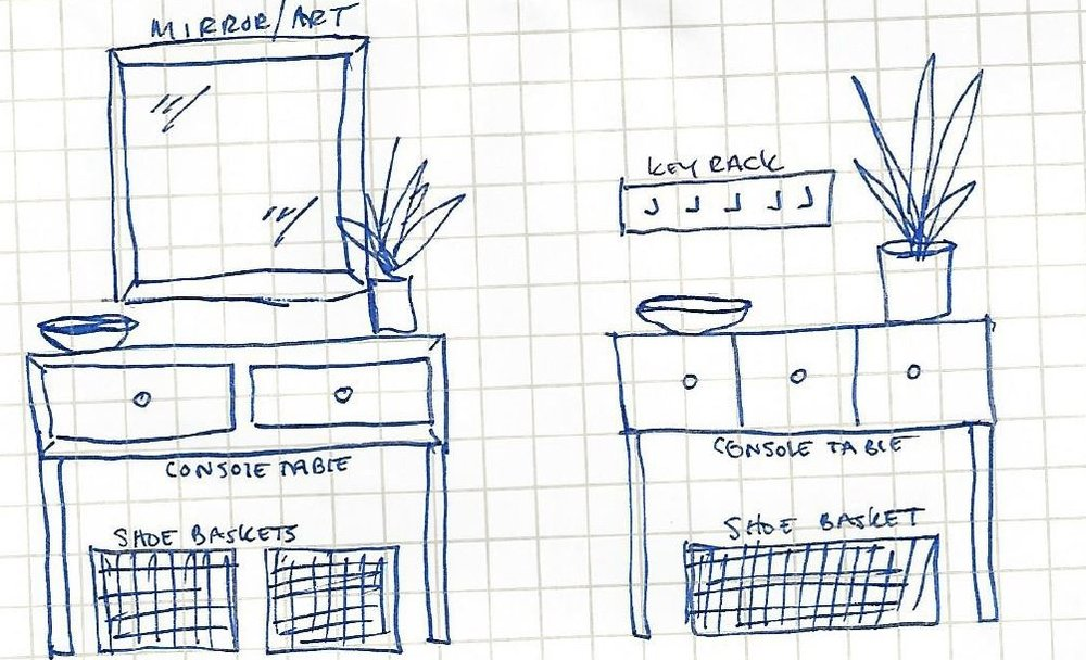 QUICK SKETCHES FOR THE KEY-DROP AND SHOE AREA