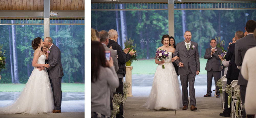 Bride and groom share their first kiss and walk down the aisle together at Stanley Park pavilion.