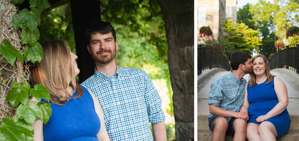 Woman in blue dress and man in blue plaid shirt smile for engagement photos in Worcester, Massachusetts.