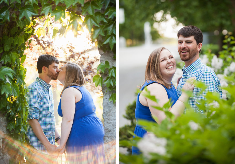 Couple wearing blue kisses and laughs during their engagement session at Higgins House in Worcester.