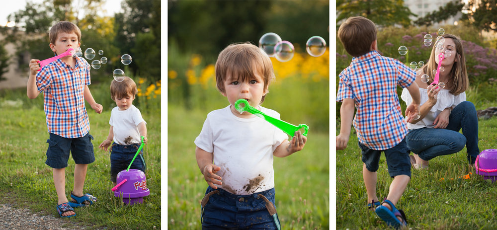 Multiple photos of a mom and her two sons blowing bubbles in a western Massachusetts park.