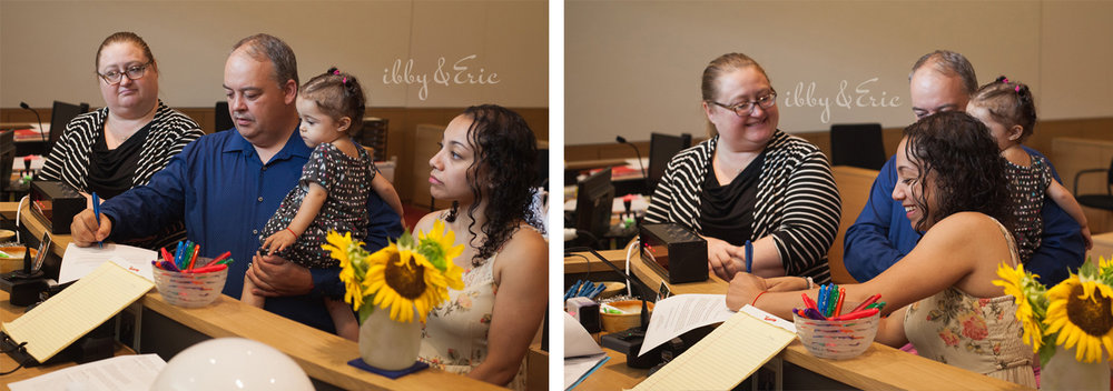 Multiple photos of a family signing adoption documents with their attorney in the Franklin County Superior Court.