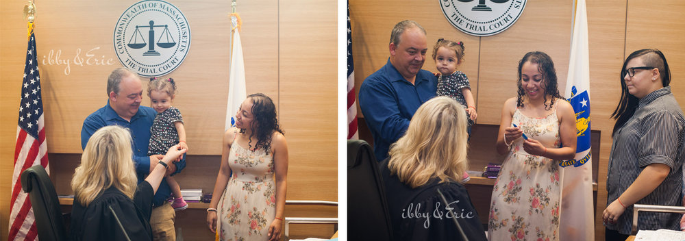 A family visits with a federal judge just after their daughter's adoption ceremony in Greenfield, MA.