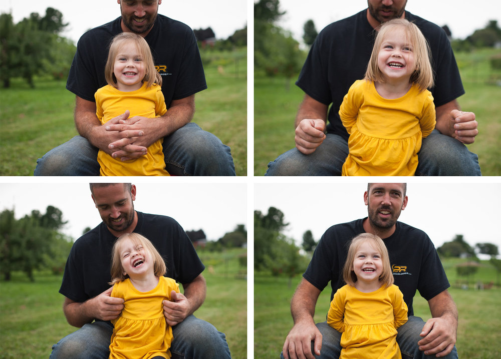 Collage of photos of dad wearing black tshirt tickling his laughing 2 year old daughter in yellow dress.