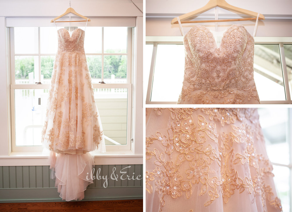 Multiple photos of a blush floral lace wedding gown on a wooden hanger in a window at the Glastonbury Boathouse.