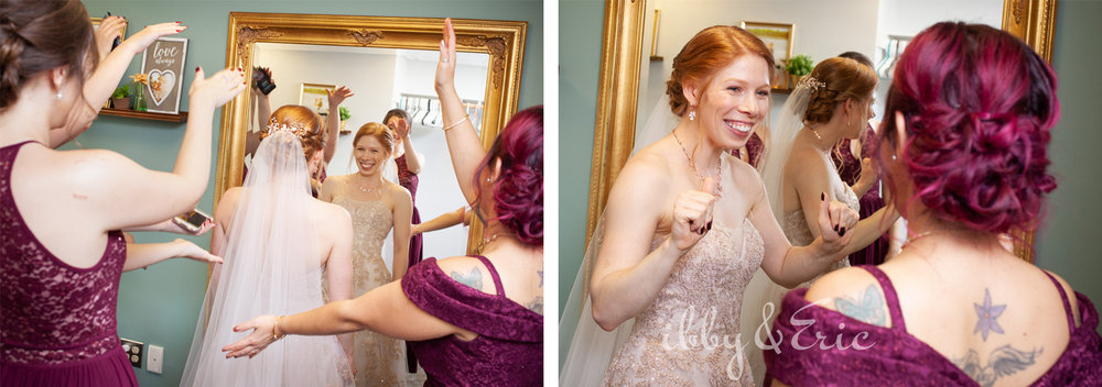 Excited Bride looks at herself in a mirror while she and her bridesmaids dance to Baby Shark.