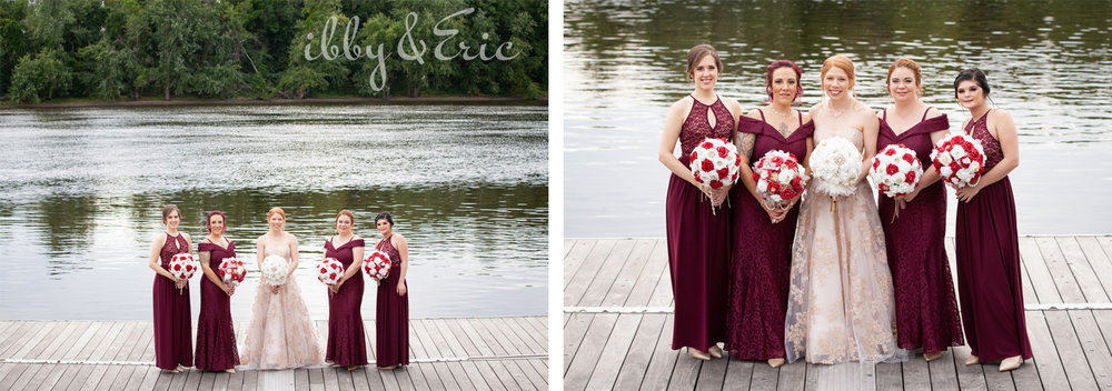 Bride and 4 bridesmaids wearing lace gowns stand together on a dock on the Connecticut River in Glastonbury.