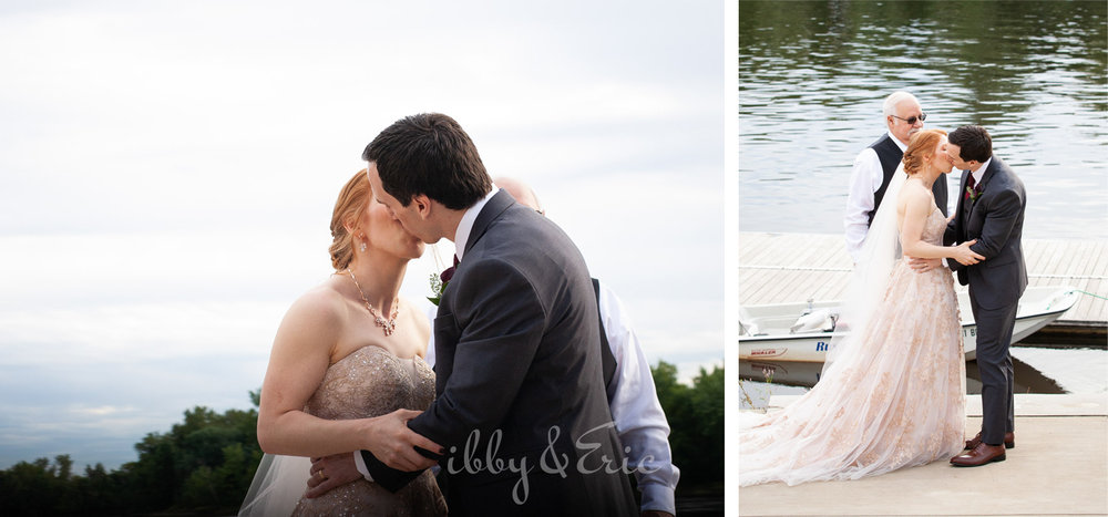 Two photos of the bride and groom's first kiss at the end of their wedding ceremony by the river in Connecticut.