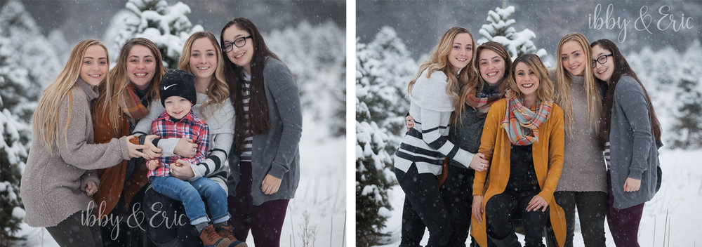 Two photos of a family of five wearing neutral tones for their family photos in the winter.