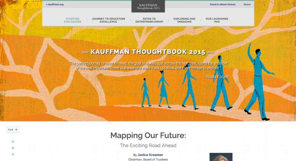 Kauffman Thoughtbook - Alongside a visual designer, I worked on translating the Kauffman Foundation's featured publication,the Kauffman Thoughtbook, into an immersive, long-form online reading experience.