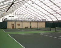 Baseline Sports Construction received an Outstanding Indoor Tennis Facility Award from American Sports Builders Association in 2006 for the construction of the Center Court Racquet Club in Louisville, TN. The fabric frame building covers four tennis courts as well as a prefabricated panel building which includes a mezzanine level, locker rooms, pro shop, and offices. -