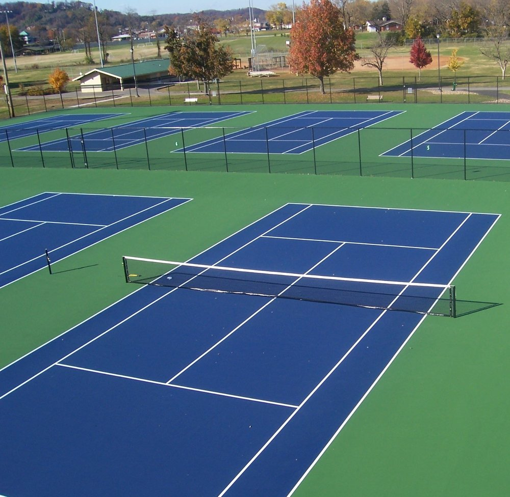 Baseline Sports Construction received an Distinguished Outdoor Tennis Facility Award from the American Sports Builders Association in 2012 for work on the tennis facility at the Sevierville City Park in Sevierville, TN. The projected consisted of renovating 8 asphalt tennis courts using the stone slipsheet method, as well as renovating the fencing around the courts. -