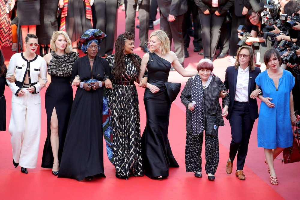 Women at Cannes: How and Why 82 Women Walked Against Gender Inequality in Film - Eighty-two women in film took the Cannes Film Festival red carpet to protest their lack of representation at the festival and in the industry at large. The number eighty-two was chosen as that is the number of films by female directors that have been represented at Cannes, versus a staggering 1,645 films by male directors. Women such as Cate Blanchett, Agnes Varda, Salma Hayek, Marion Cotillard, and Kristen Stewart were among those who walked in protest during the premiere of Eva Husson's film, Girls of the Sun. Husson is one of only three female directors up for the prestigious Palme d'Or award at Cannes.