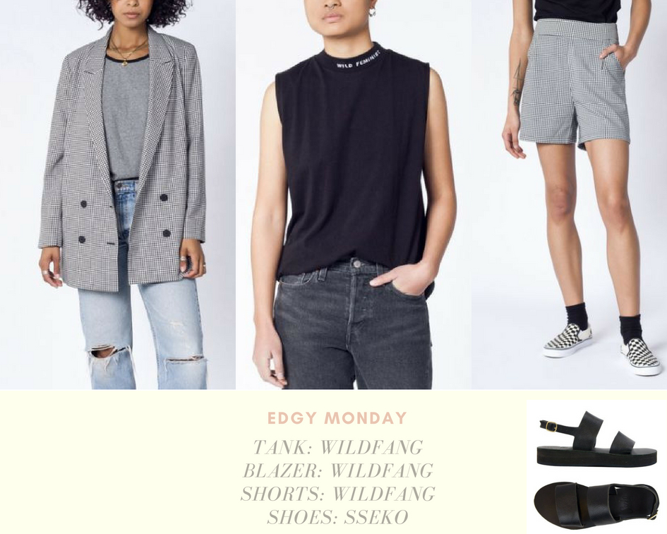 Edgy Monday - Tank | Shorts | Blazer | ShoesWildfang: A percent of proceeds from this product go directly to THE NEW YORK WOMEN'S FOUNDATION.SSeko: Wear Sseko and you can send a girl to college