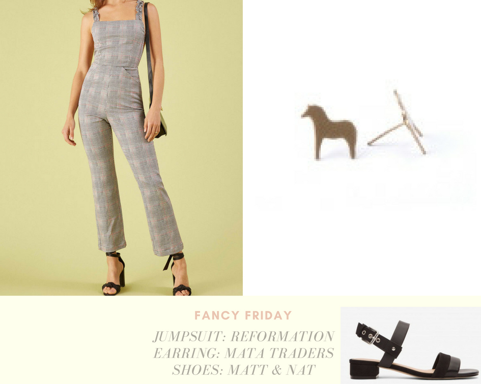 Fancy Friday - Jumpsuit | Shoes |EarringMatt & Nat: The company believes in living beautifully and mindfully, crafting vegan shoes with synthetic leathers, 100% recycled plastic bottles, and cork.Mata Traders: This fair trade company empowers female artisans in Nepal and India by providing services such as health care, paid maternity leave, retirement pensions and even daycare.Reformation: This Los Angeles-based brand creates products only from sustainable and upcycled materials in a fair wage environment.