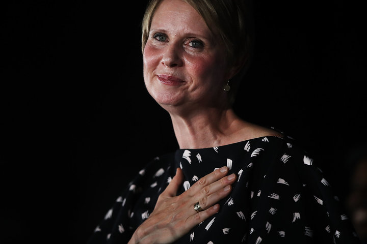 NEW YORK, NY - SEPTEMBER 13: New York Democratic primary candidate for governor Cynthia Nixon makes a concession speech at a Brooklyn restaurant on September 13, 2018 in New York City. In a race where she sought to attract disenfranchised voters and those on the left, the actress and activist was challenging the incumbent governor Andrew Cuomo.  (Photo by Spencer Platt/Getty Images)